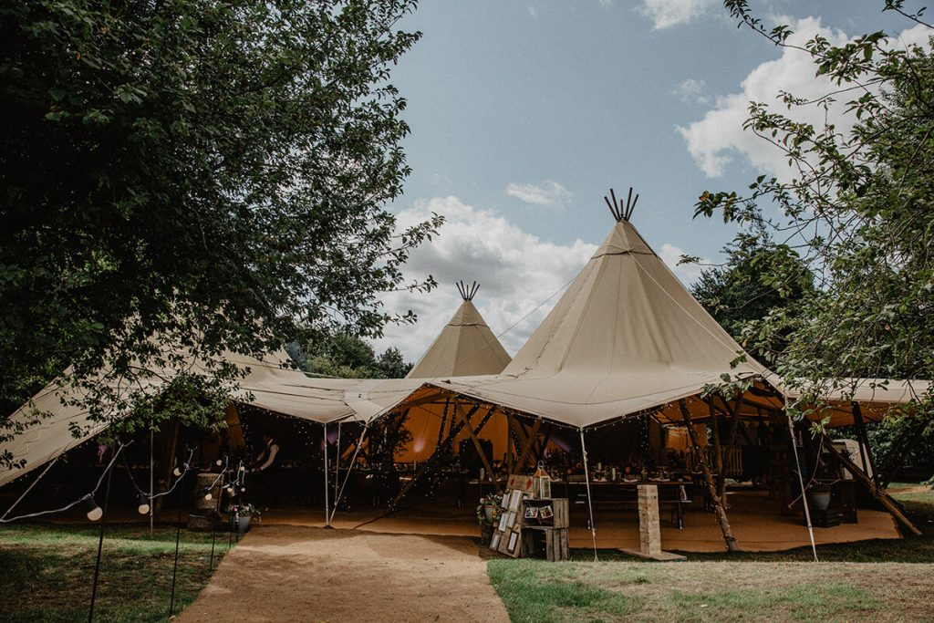Three Tipis in a triangle at Lodge Farm House