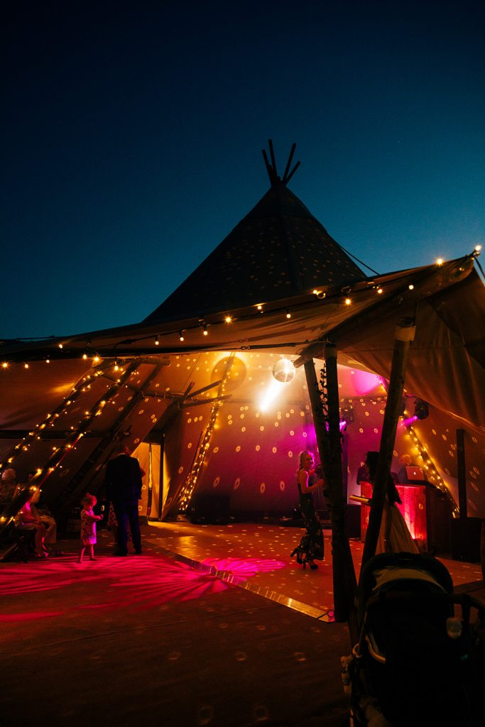 Disco Tipi warming up for a night of entertainment at a wedding