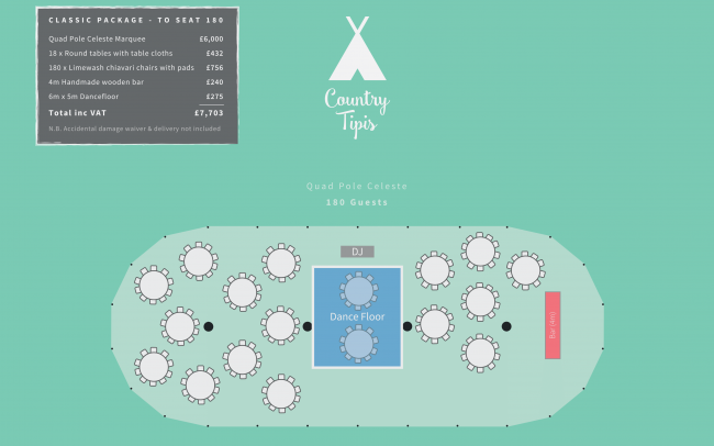 Floor plan for quad pole Celeste Marquee