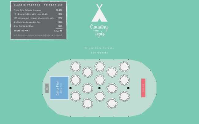Floor plan for triple pole Celeste Marquee
