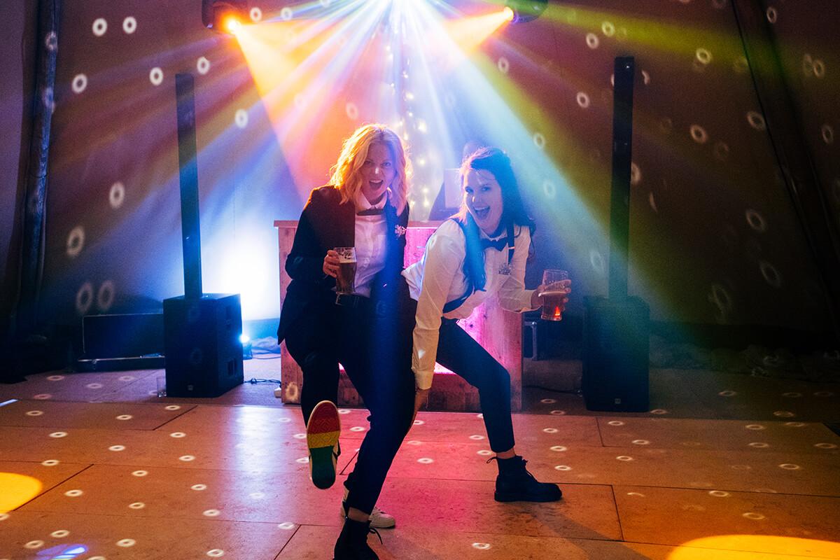 Dancefloor and disco at a same sex wedding at Lattenbury Hill