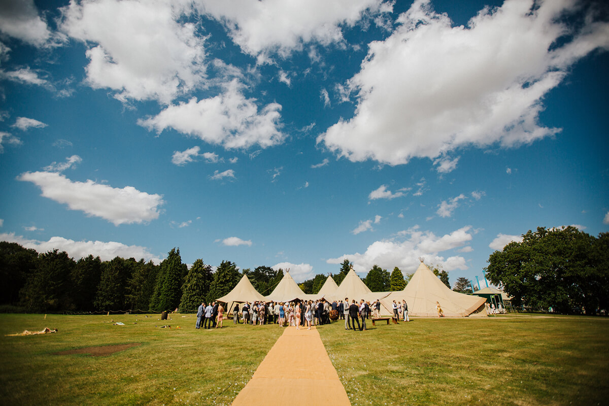 Tipi wedding matting at Vanstone Park in Codicote, Hertfordshire