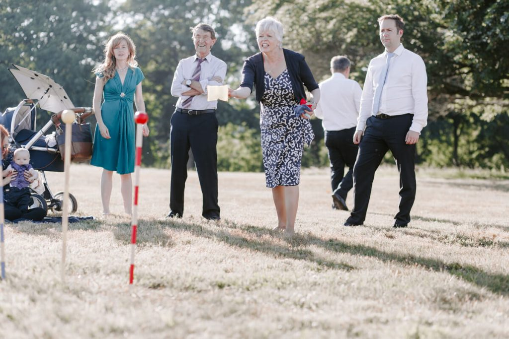 Garden games at an outdoor wedding