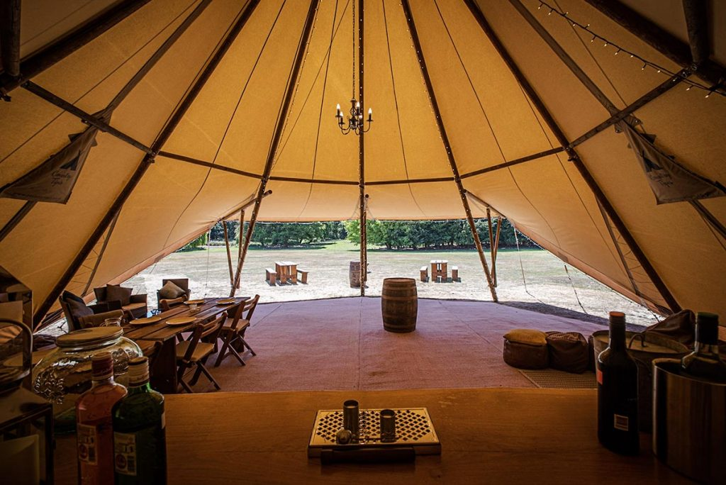 Single Tipi in a garden for a party