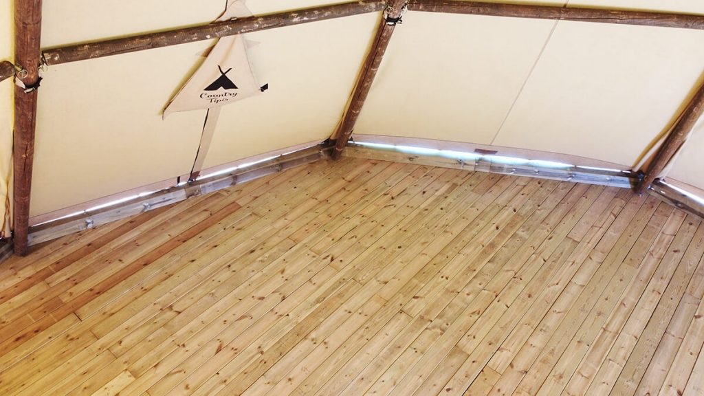 Wooden decking inside a Tipi - Permanent Floor