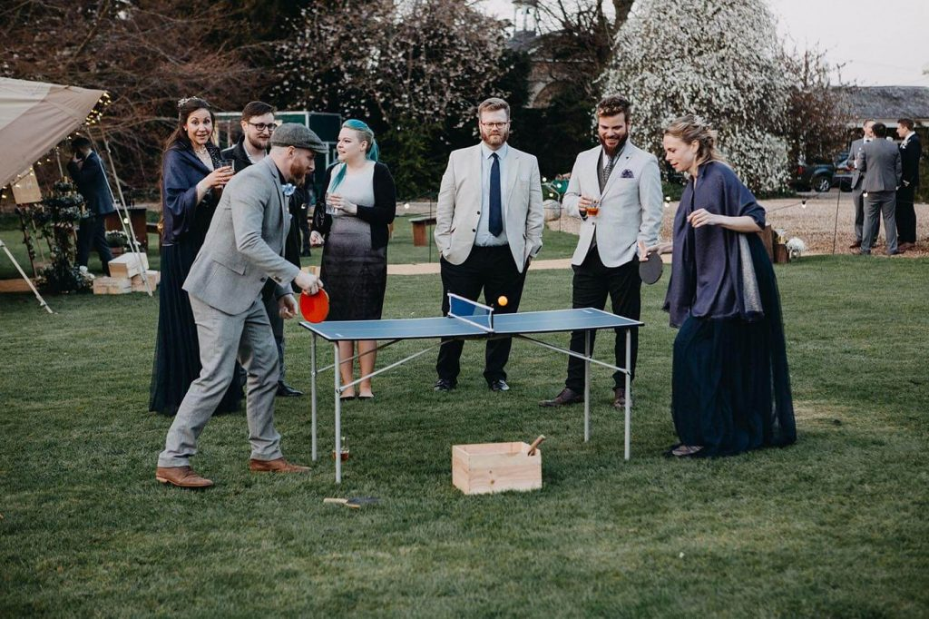 Table tennis at a Tipi Wedding at Walkern Hall